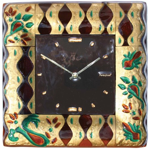 Art Glass with Gold Leaf Wall Clock Milanese Glamour