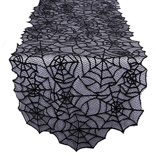 Aonor Halloween Spider Web Table Runner - Black Lace Cobweb Tablecloth Topper Festive Party Supplies Halloween Party, Dinner & Spooky Meals, Wedding Table Décor, 20 80 inch