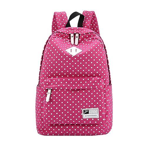 MingTai Mochilas Escolares Mujer Backpack Mochila Escolar Lona Grande Bolsa Vendimia Casual Juvenil Chica Lunares Colegio Bolso Rose: Amazon.es: Zapatos y ...