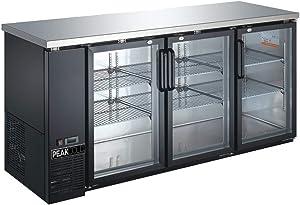 "PEAK COLD 3 Glass Door Commercial Back Bar Cooler; Beer Fridge; Under Counter Refrigerator; 72"" W"