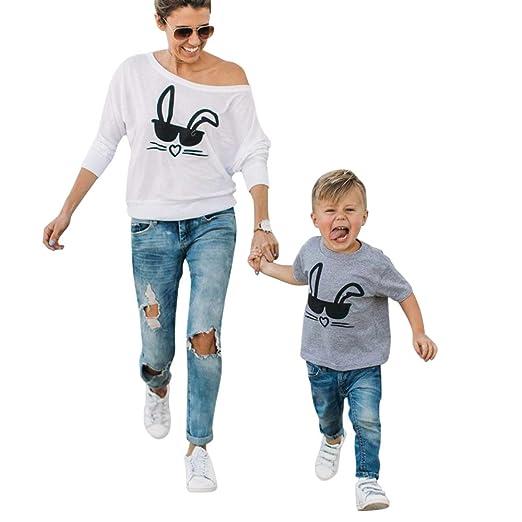 LUCKDE Mutter Kinder Kleidung, Matching Outfits Baby Outfit Mädchen Familien Kleidung Partnerlook Familie Mama Kind Kleid Lan