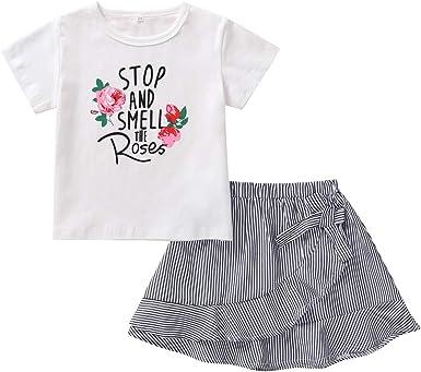 Niñito Conjunto de Ropa para niñas pequeñas Camiseta Blanca de Manga Corta Falda con Volantes a Rayas Conjunto de Trajes de algodón para niñas: Amazon.es: Ropa y accesorios