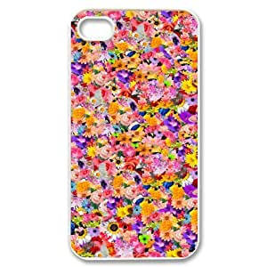 floral pattern flowers print colorful iPhone 4/4s Case White