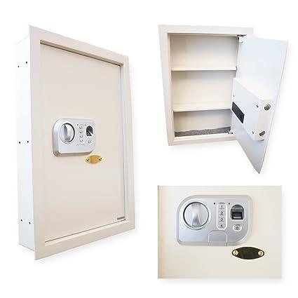 Fingerprint Access Biometric Wall Safe Cabinet With Combination / Password  Lock U0026 Backup Keys