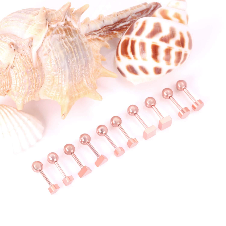 LUXUSTEEL 5 Pairs 2-6mm 316L Stainless Steel Hypoallergenic Stud Earrings for Women Baby Girls Black Rose Gold