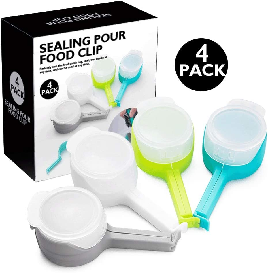 Bag Clips for Food Storage 4 Pieces Set, Seal Pour Food Storage Bag Clip with Pouring Spout, Moistureproof Airtight Sealing Clip for Snack, Pet Food, Nuts, Oats and Coffee