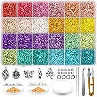 Queta Kit de inicio de cuentas de vidrio 19200 piezas 2 mm 12/0 Bolitas colores para accesorios de joyería de pulsera de…