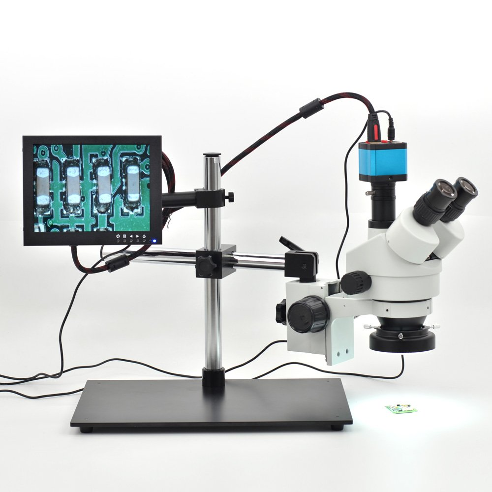 HAYEAR 7X-45X Trinocular Microscope Inspection Zoom Stereo HD 14MP HDMI USB Calibrate Camera+ Big Stereo Stand+144 LED Ring Light+8 inch HD HDMI LCD Monitor by hayear