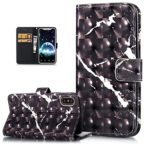 iPhone X Case,iPhone X Cover,ikasus 3D Colorful Art Painted Marble Pattern Flip Folio Wallet Case PU Leather Scratch Resistant Stand Card Slots Case Cover for Apple iPhone X,Black