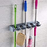 VOTRON Mop Broom Holder Wall Mount Commercial Rack Storage &Organization Hanger with 5 Position with 6 Hooks Champ Grip Holds up to 11 Tools for Kitchen Garden and Garage
