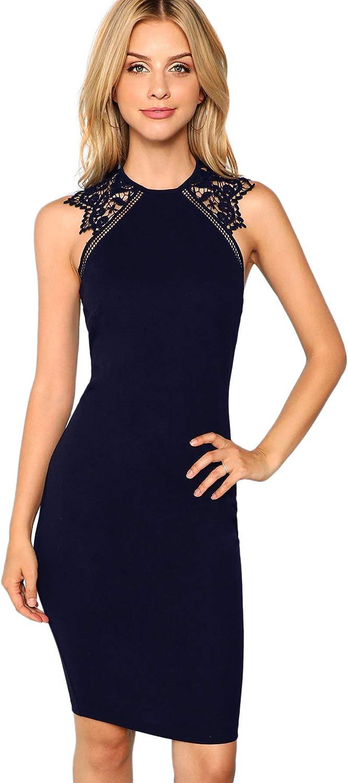 Verdusa Womens Sleeveless Lace Insert Knee Length Bodycon Pencil Party Dress