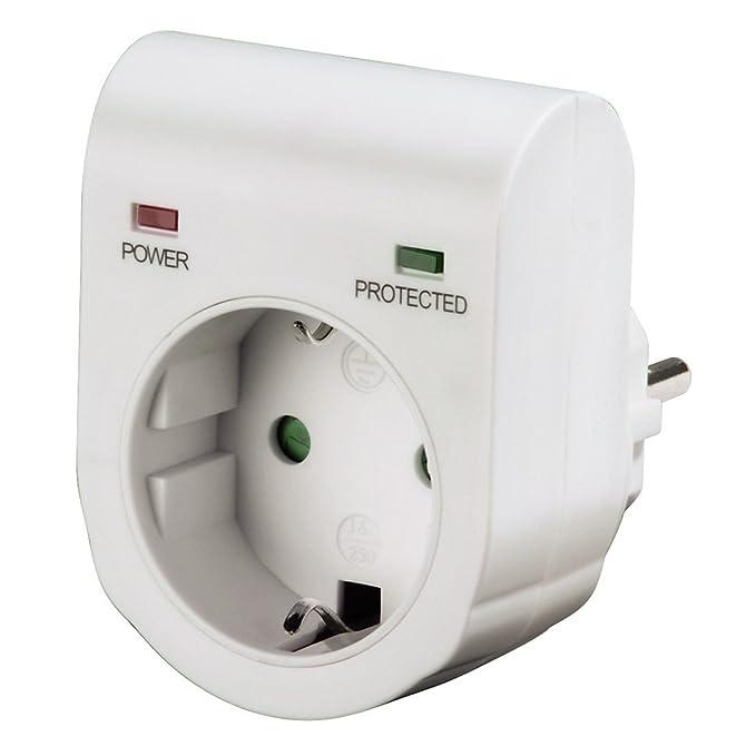 Hama Überspannungsschutz Adapter (für z.B. Telefonanlage, Computer, Hifi und TV-Geräte, bis 3500 W, 230 V, doppelte LED-Statusanzeige, integrierte Kindersicherung) weiß