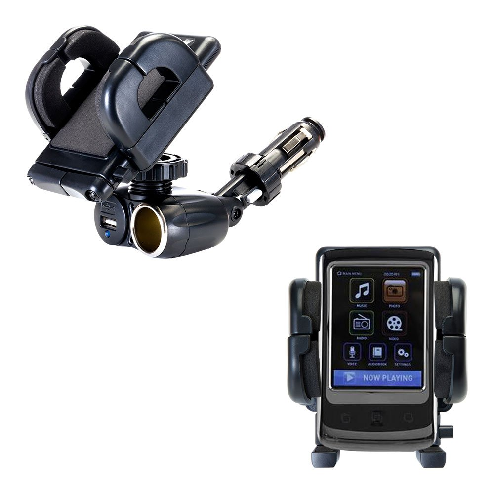 Unique Auto Cigarette Lighter and USB Charger Mounting System Includes Adjustable Holder for the Memorex TouchMP