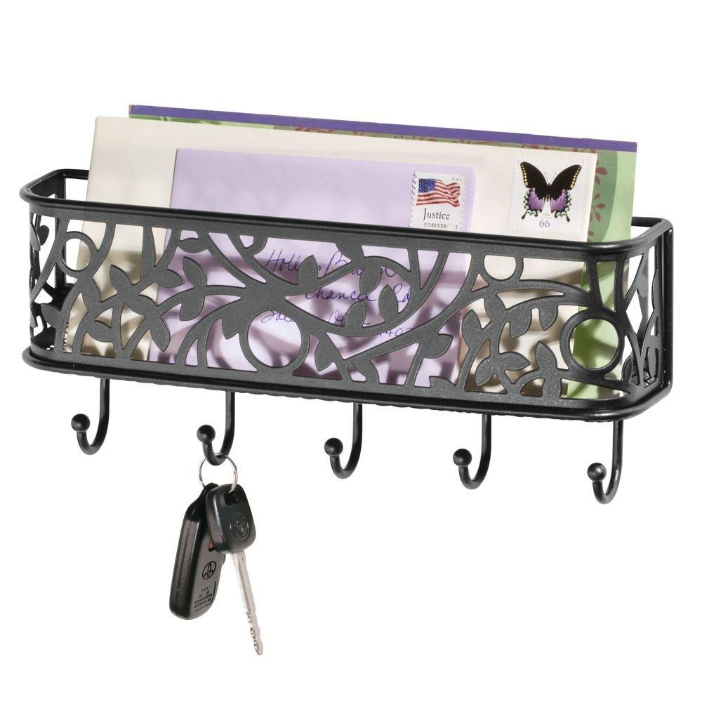 nero opaco mDesign Elegante portachiavi da parete ideale per ingresso Portachiavi con vaschetta portacorrispondenza da appendere al muro