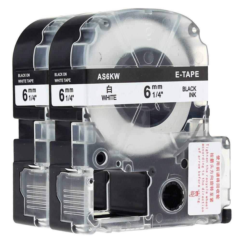 FidgetGear LC-2WBN Compatible for EPSON K-Sun Label Tape Black on White 6mm LW600 2PK