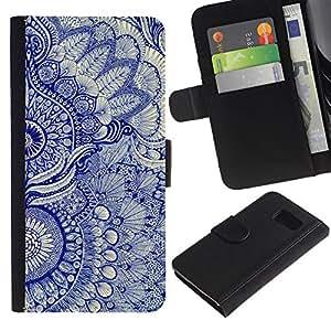 Samsung Galaxy S6 / SM-G920 , la tarjeta de Crédito Slots PU Funda de cuero Monedero caso cubierta de piel ( Wallpaper Blue Floral Pattern Art Native Royal)