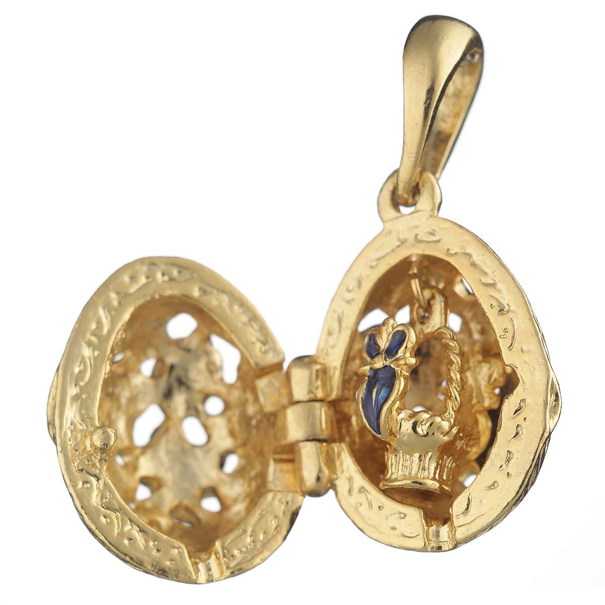 danila-souvenirs Huevo Ruso de Estilo Faberge Colgante//Pendiente con Flores 2,1 cm #1020