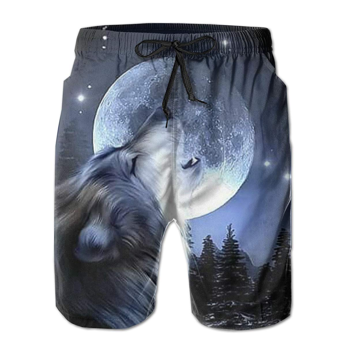 Oiyucv Mens Swim Trunks Wolf Moon Quick Dry Board Shorts Bathing Suits Swimwear Volley Beach Trunks