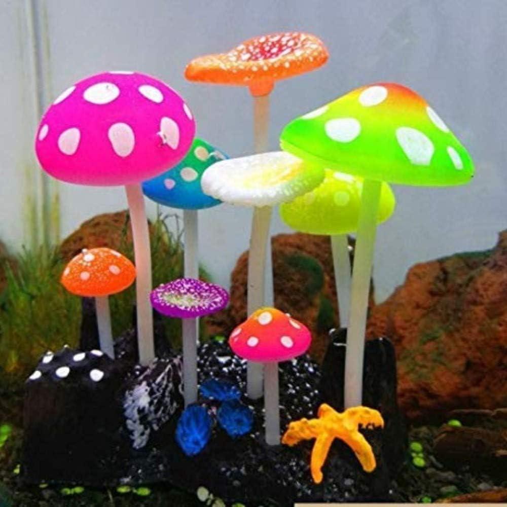HANDS Fish Tank Decorations,Glow Artificial Mushroom,Silicone Fish Tank Plants for Aquarium Ornaments