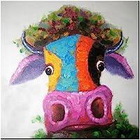 Fokenzary - tela decorativa moderna, multicolore, dipinta a mano, motivo mucca/toro, stile pop art, incorniciata e pronta da appendere