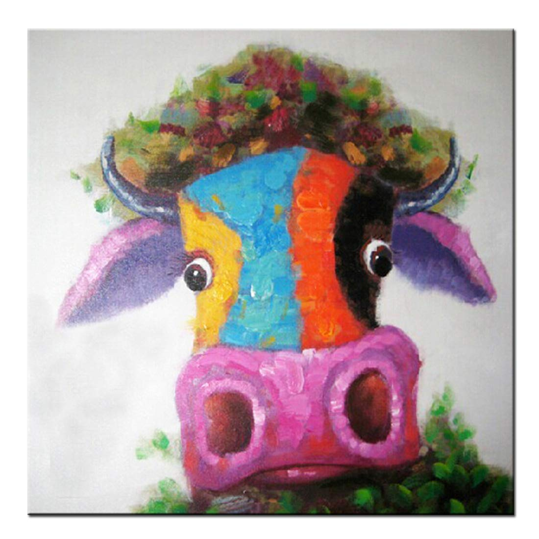 Fokenzary Hand Painted Multiple Colors Cow/Bull Modern Pop Wall Art Framed Ready to Hang Others