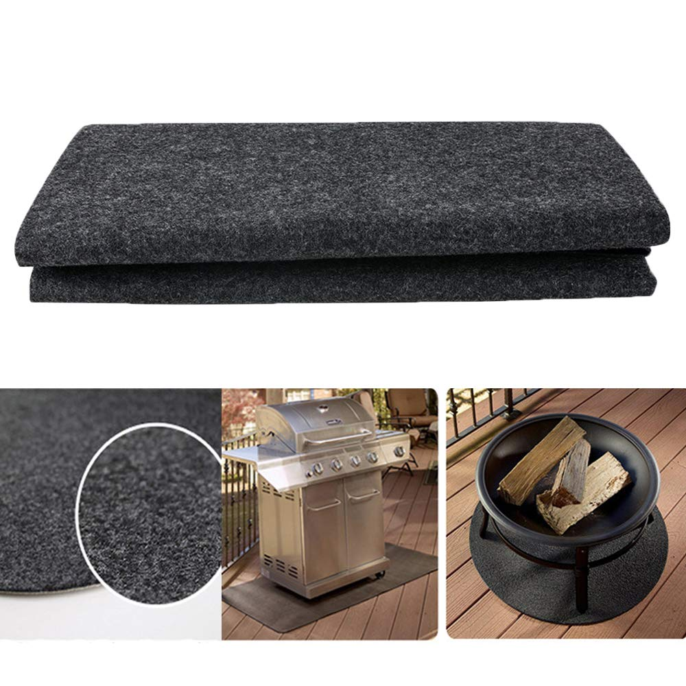 zinnor Gas Grill Floor Mat Pad Outdoor BBQ Mat Fire proof Heat Resistant Roast Mat Non-Stick BBQ Grill Mat Barbecue Grill Splatter Mat Liners to Protect Decks and Patios from Grease Splatter 48x30inch