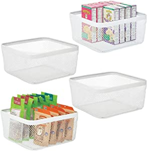 mDesign Farmhouse Decor Metal Wire Food Organizer Storage Bin Basket for Kitchen Cabinets, Pantry, Bathroom, Laundry Room, Closets, Garage, 4 Pack - White