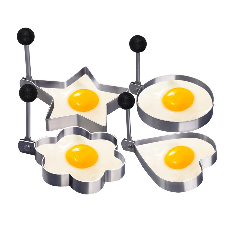 Fried Egg Shaper Mold, Vangoddy Stainless Steel Egg Mould Cooking Kitchen Tools for Kids and Lovers (4 Pack (Round, Star, Heart, Flower)) by Vangoddy (Image #7)