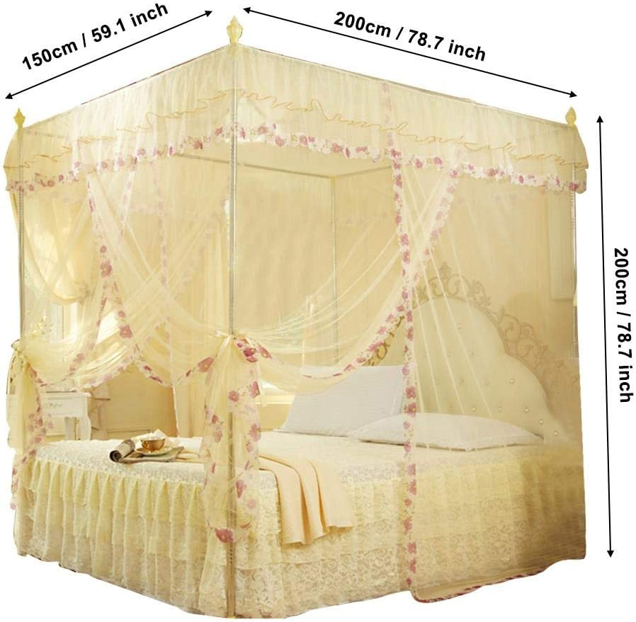 Rectangular Mesh Mosquito Net Luxury Princess 3 Side Openings Post Bed Curtain Canopy Netting Mosquito Net for Bedroom 120 * 200 * 200-Pink