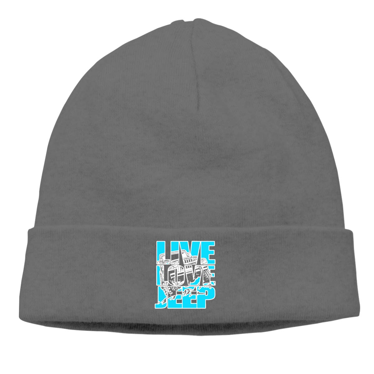Live Love Jeep Beanie Hat Skull for Men Deep Heather