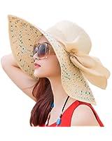 Itopfox Women's Folable Floppy Hat Big Bowknot Straw Hat Wide Brim Beach 50+ UPF Sun Hat