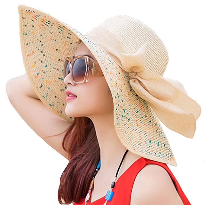 bbf97eaf67296 Itopfox Womens Folable Floppy Hat Big Bowknot Straw Hat Wide Brim Beach 50+ UPF  Sun