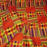 "Arts & Crafts : African Kente Print #3- Serengeti Fabric (1 Yard) kente African print fabric cotton 44 "" wide head wrap head tie scarf choir African dance black history month African American men women kids"