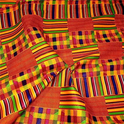Multi Head Scarf (African Kente Print #3- Serengeti Fabric (1 Yard) kente African print fabric cotton 44