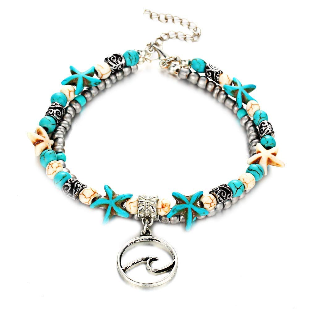 Onefeart Base Metal Anklet for Women Girls Retro Beach Style Starfish Shape Double Foot Chain Design 30CM Silver Fashion Jewelry NEWD16th002