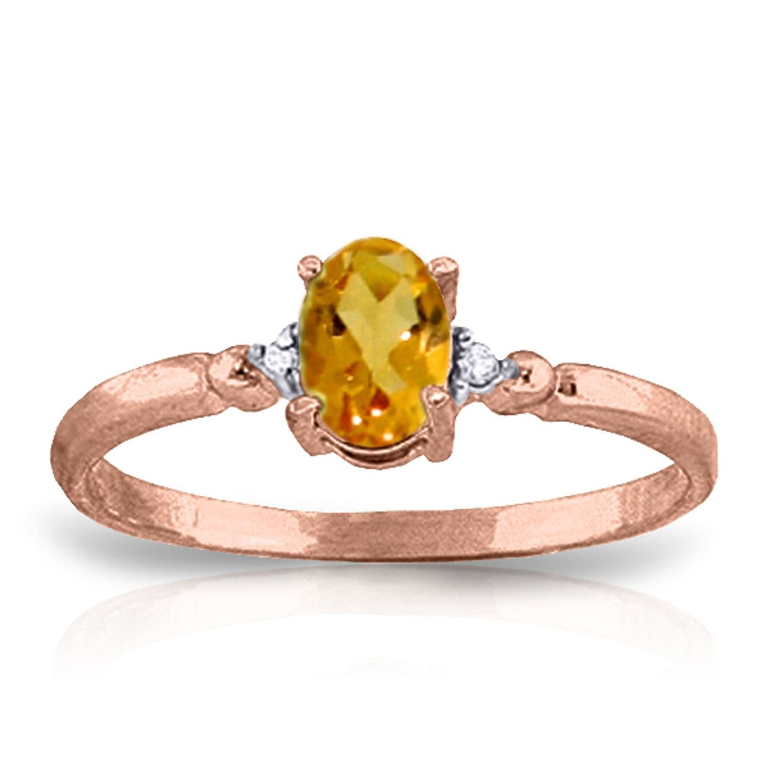 ALARRI 0.46 CTW 14K Solid Rose Gold Young Love Citrine Diamond Ring With Ring Size 8