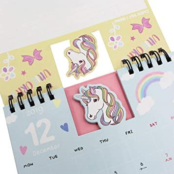 2019-2020 Desk Calendar Cute Unicorn Stand Up Desktop Flip Calendar Daily Monthly Table Planner Agenda for Home Office