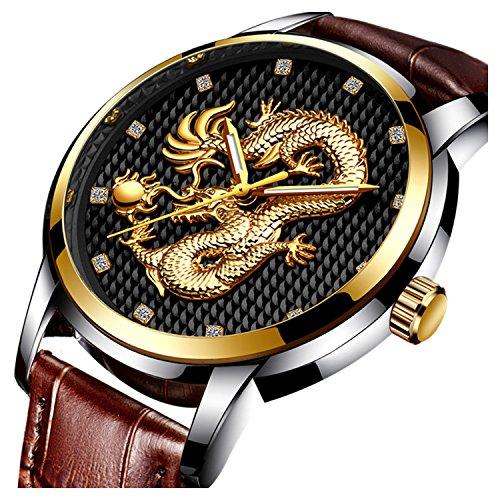 - Men's Watch top Selling Brand Luxury Gold Dragon Sculpture Quartz Steel Waterproof Wristwatches (Black)