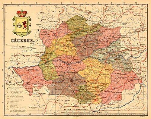 Cáceres. Caceres. Extremadura. Mapa Antiguo de la Provincia. Martin – Old Antiguo Mapa Vintage – C1911 – Mapas de Impreso de España: Amazon.es: Hogar