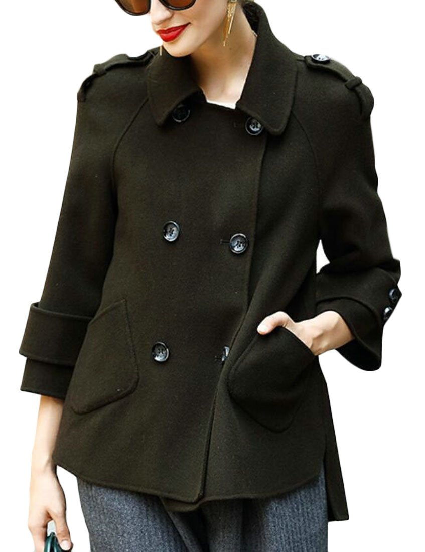 Zago Women's Business New Lapel Double Breasted Pea Coat Overcoat 2 XXS