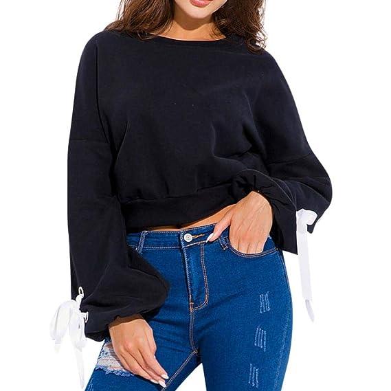 Bestow Arco de Cuello Redondo Mujer Damas Casual Camiseta de Manga Larga Blusas de Manga Larga: Amazon.es: Ropa y accesorios