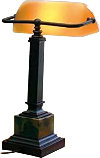 product image for House of Troy DSK430-MB Shelburne Collection 13-3/4-Inch Portable Desk Lamp, Oil Rubbed Bronze and Marble with Amber Glass Shade