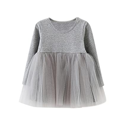 c6001ec36b6d1 ワンピース キッズ服 Glennoky 無地 メッシュドレス スカート ワンピース 女の子 お姫様 プリンセス 可愛い 長袖 お嬢様 ベビー服