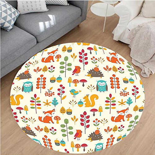 Hand Tufted Bay Leaf (Nalahome Modern Flannel Microfiber Non-Slip Machine Washable Round Area Rug-Cute Kids Autumn Pattern with Owl Fox Squirrel Birds Animal Leaves Artsy Print Multicolor area rugs Home Decor-Round 43