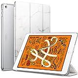 ESR iPad Mini 5 2019 ケース 薄型 PU レザー スマート カバー キズ防止 クリア ハード 背面 ケース 三つ折り スタンド オートスリープ ウェイクアップ 機能 iPad Mini5(第五世代) 専用 (大理石模様・ホワイト)