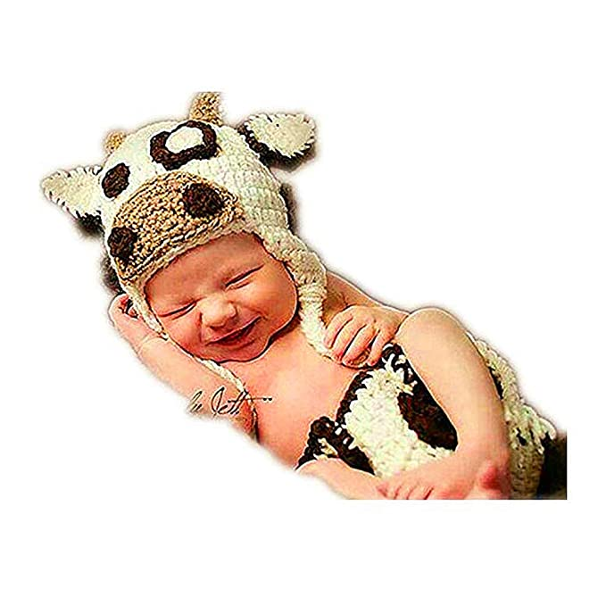 97d932efb39 Amazon.com  Newborn Photography Props Outfits - Baby Boy Girl Knitted Hat  Pants Cow Costume Set  Clothing