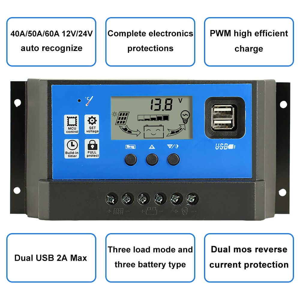 PowMr 60a Charge Controller - Solar Panel Charge Controller 12V 24V,Adjustable Parameter LCD Display Current/Capacity and Timer Setting ON/Off with 5V Dual USB(CM-60A) by PowMr (Image #2)