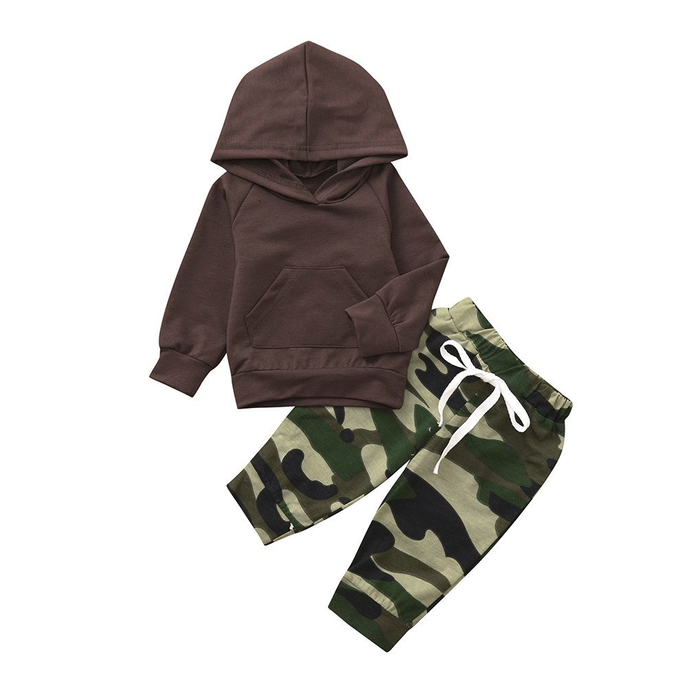 PLOT Clearance 2Pcs Baby Boys Camouflage Hoodies+Pants Clothes Outfit Set Apparel 0-3T