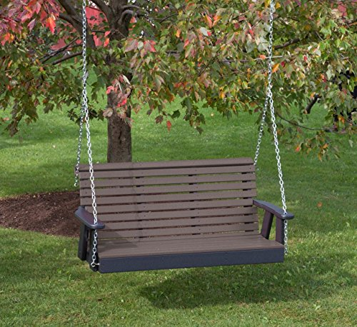 5FT-WEATHERED WOOD-POLY LUMBER ROLL BACK Porch Swing Heavy Duty EVERLASTING PolyTuf HDPE – MADE IN USA – AMISH CRAFTED Review