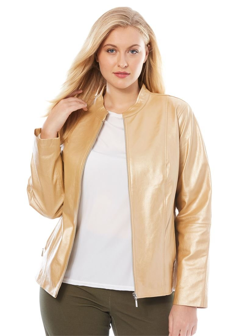 Jessica London Women's Plus Size Zip Front Leather Jacket Metallic Gold,14 W by Jessica London